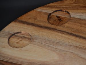 Chopping Board - Round with 2 x Small Turkish Bowl Holders