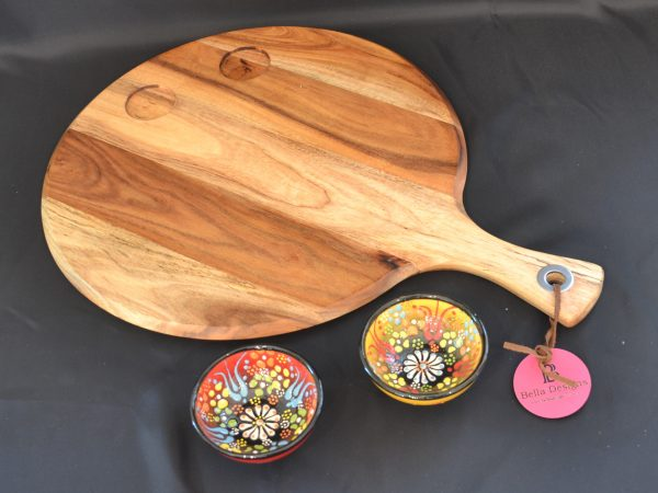 Chopping Board Set - Round with 2 x Small Turkish Bowl (2)