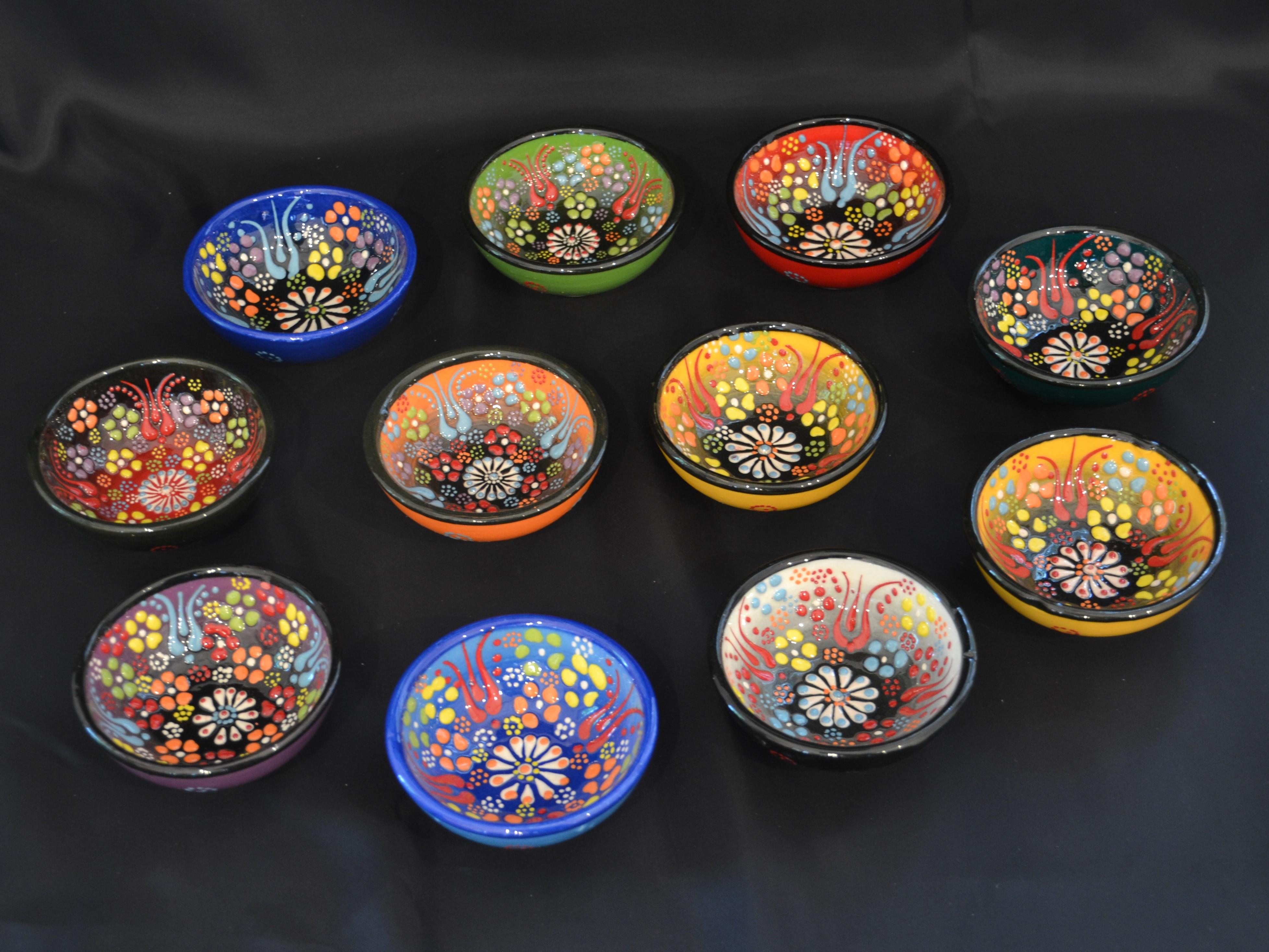Other Bohemian/czech Art Glass Sunny Hand Madegold Designs Glass Bowl Turky